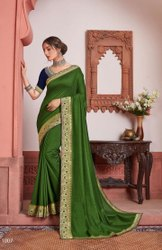 Green Color Vichitra Silk Saree