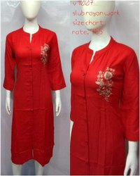 Party Wear Straight Ladies Red Rayon Slub Hand Work Kurtis, Size: S to XXL, Wash Care: Handwash