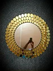 Golden Glass Round Wall Mirror, For Home and Hotel, Size: 2x2 Ft