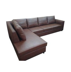 Meguni Wood Modern Brown Leather Corner Sofa, For Home and Office, Living Room
