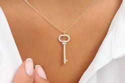 Pramukhimpex 14k Gold Diamond Key Charm Necklace