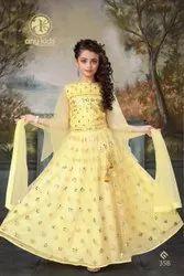 Party Wear Kids Girl Lehenga Choli, Size: 24-38