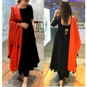 Semi-stitched Churidar Black Cotton Anarkali Salwar Suit With Dupatta