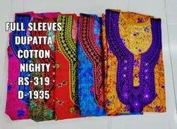 Full Length Dupatta Cotton Ladies Nighties, X Large