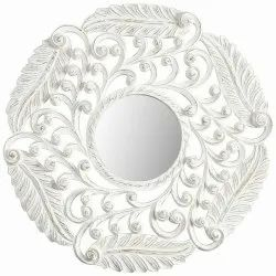 Glass White Round Mirror Frame, For Home