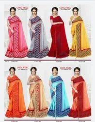 Printed Satin Saree