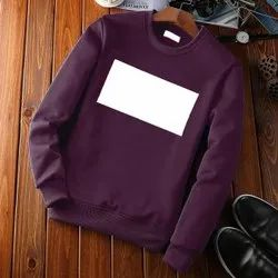 Round Neck Printed Violet Cotton Sweatshirt, Size: M