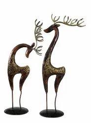 NIRMALA HANDICRAFTS Iron Craft Deer Set Antique Home Decor And Garden Decorative Showpiece