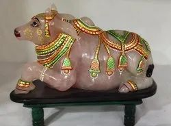 Rose Quartz Nandi Statue