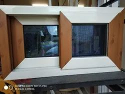Domal Aluminium Wooden Colour Windows With Mesh 3 Track