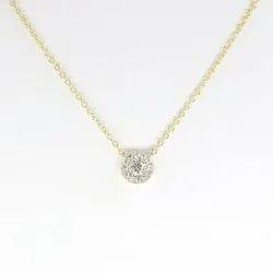 Round Diamond Halo Necklace, Dainty Moissanite Diamond Necklace. Solid 14K Gold Necklace
