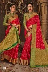 Designer Red Color Jacquard Saree