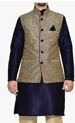 Cotton Blue, Biege Mens Party Wear Kurta Pajama Jacket Set, Handwash, Size: 36-42