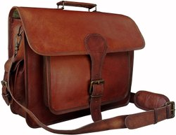 Plain Brown Men Leather Bag, 400 Gram