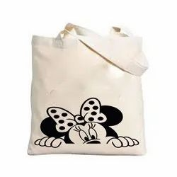 Off White Handle Printed Canvas Tote Bag, Size/Dimension: H 17 X W 15