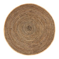 Natural Black Stripe Jute Braided Round Rug