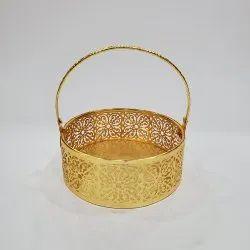 Patni Craft Metal Round Shape Puja Basket/Pooja Basket Flower and Fruit Basket-190 Grams