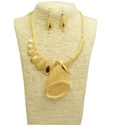 Brass Gold Plated Necklace with Earnings