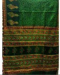 Border Green Designer Ladies Saree, 6 m (with blouse piece)