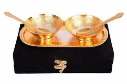 Ac Anand Crafts Gold And Silver Plated Bowl And Spoon Set