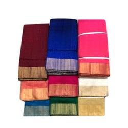 Zari Border Dupion Silk Fabric