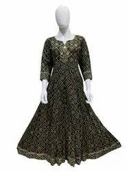 The Beautiful Bottle Green Color Anarkali Kurti For Womens