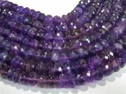LARGE 8-10mm Faceted Rondelle Amethyst Stone Bead Strands