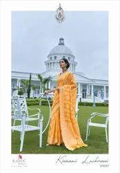 Rajyog Border Banarasi Cotton With Chikankari Weaving Luckhnowi Saree, Machine Wash
