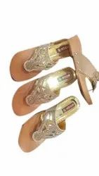 Faux Leather Ladies Party Wear Embroidered Sandals, Size: 7