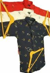 Collar Neck Mens Floral Print Casual Cotton Shirt
