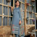 Cotton Satin Print With Embroidery Unstitched Suit