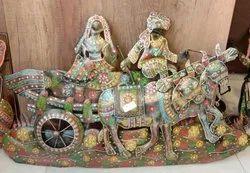 Rajasthani Couple Riding On Bullock Cart Decorative Showpiece for Decoration