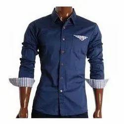 Blue Cotton Woven Menswear, Size: Medium