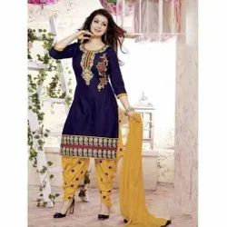 Blue And Yellow Cotton Ladies Embroidered Salwar Suit