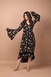 Rayon Western Wear Ladies Printed Ruffle Dress