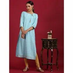 Janasya Women's Turquoise Blue Poly Crepe Kurta(JNE3521)