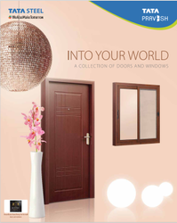 TATA Pravesh Pearl Embossed Wood Finish Steel Internal Door, For Home, Single