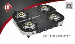 Stainless Steel UC 410 Vaio Step Four Burner Black Glass Stove, For Kitchen