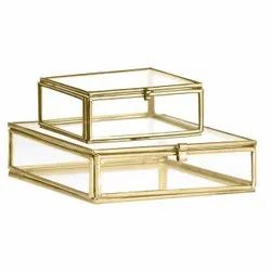 Brass Antique Brass & Glass Party Boxes, For Gift, Size/Dimension: 8x8x2.5 & 4x4x2.5 Inch