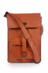 Leather Brown Hand And Shoulder Cross Bag, Size: 27X39X9CM