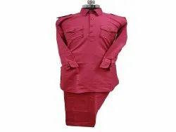 Red Cotton Men Pathani Suit