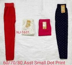 Rishabh Collection Cotton NJ-1631 Ladies Small Dotted Print Legging, Size: Free Size