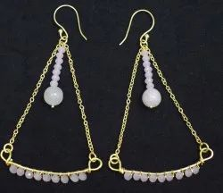 Pink Quartz And White Rainbow Chain Earning With Gold Plated