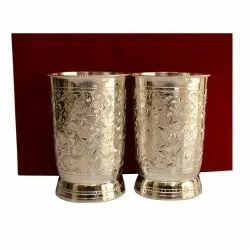 Silver Coated Glass Set With Tray