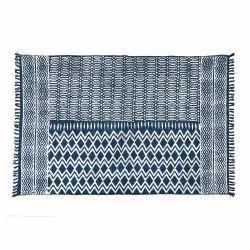 Cotton Printed Indigo Room Rug, For Home, Size: 2x3