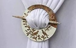 Round Shape On Bird Design Wooden Curtain Tieback