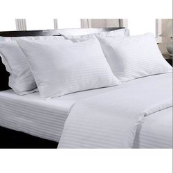 Satin Stripe Hotel White Bed Sheet