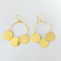 Golden Brass Gold Plated Earrings Plain