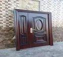Brown Polished Mild Steel Double Door, For Home