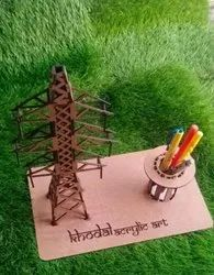 Custom-Made Brown Wooden Pen Stand, For Office,Home